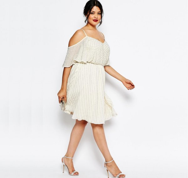 cute plus size crema embellished summer dress cold shoulder flutter sleeve asos