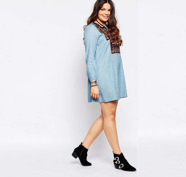 cute plus size embroidered denim long sleeve summer dress Alice & You