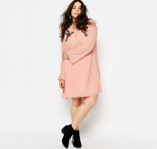 cute plus size embroidered pink shift summer dress Alice & You