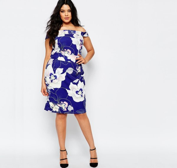 cute plus size floral blue off the shoulder summer dress Paper Dolls