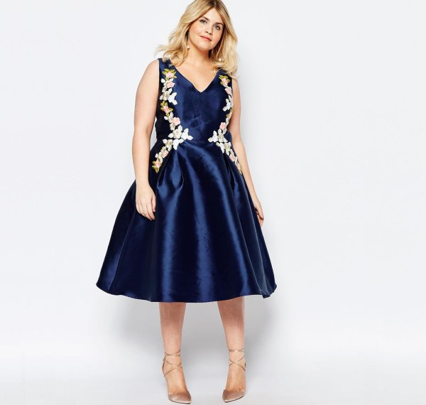 cute plus size navy blue embroidered summer dress Chi Chi