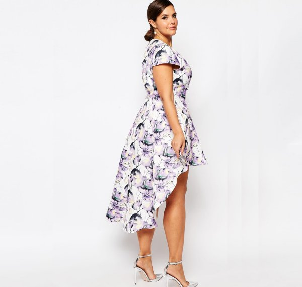 cute plus size white purle floral high low summer dress sleeves Truly You