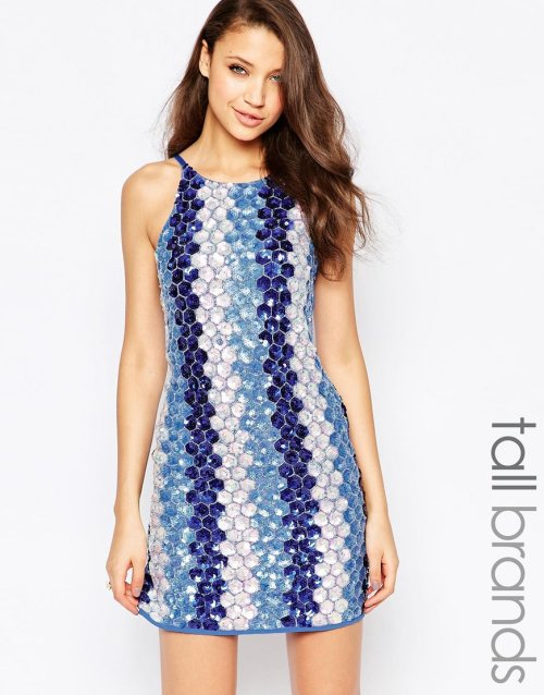 cute sexy blue sequin club party summer dress True Decadence Tall