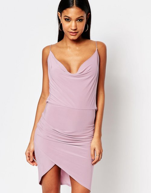 cute sexy cowl neck and back lilac club summer dress Club L