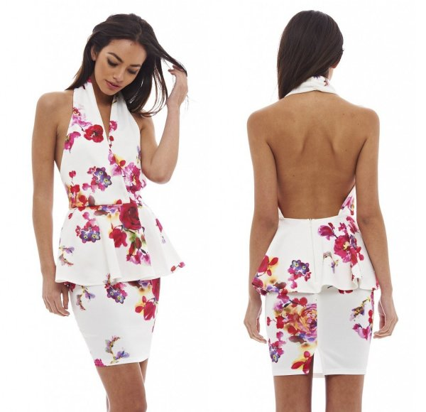 cute sexy cream floral peplum halter summer dress AxParis