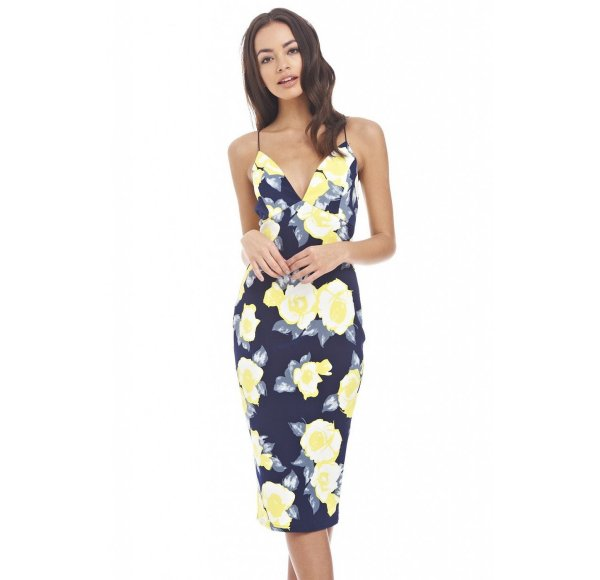 cute sexy navy-yellow floral midi summer dress AxParis