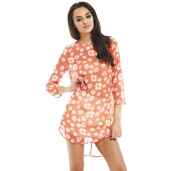 cute sexy orange floral summer dress tunic sleeves AxParis