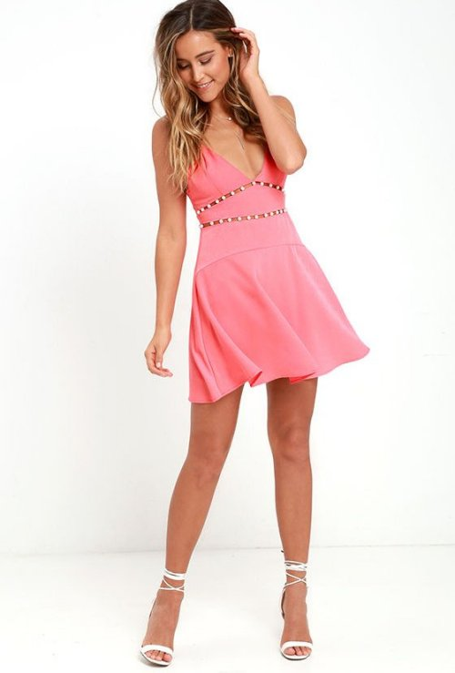 cute sexy pink club party summer dress NBD