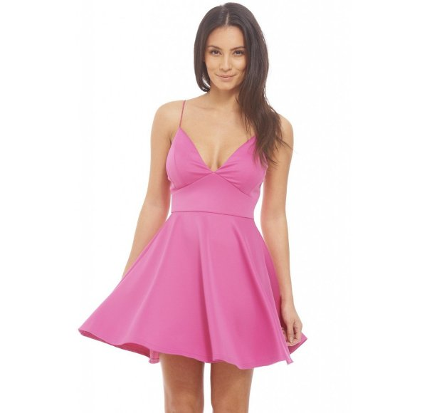 cute sexy pink v-neck summer dress AxParis