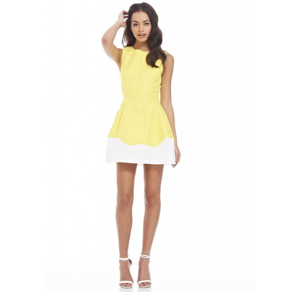 cute sexy white yellow bubble summer dress AxParis