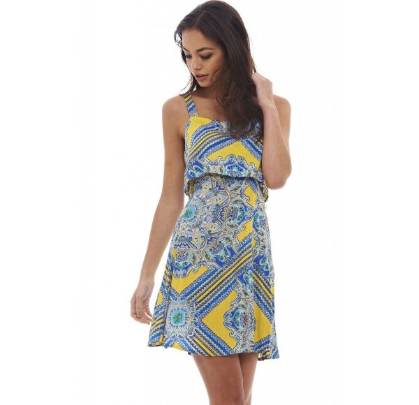 cute sexy yellow blue print summer dress AxParis