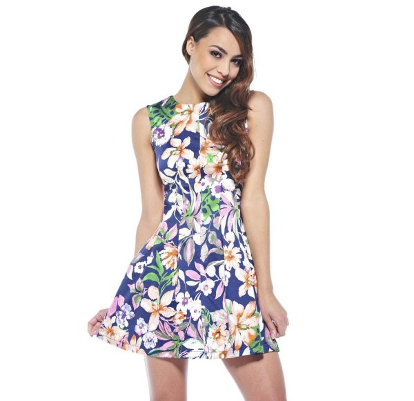 cute short floral navy summer dress AxParis