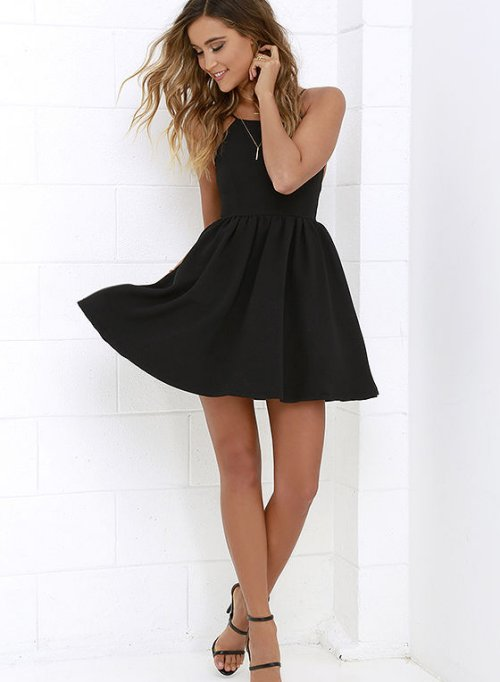 cute simple chic black summer cocktail dress open back lulus