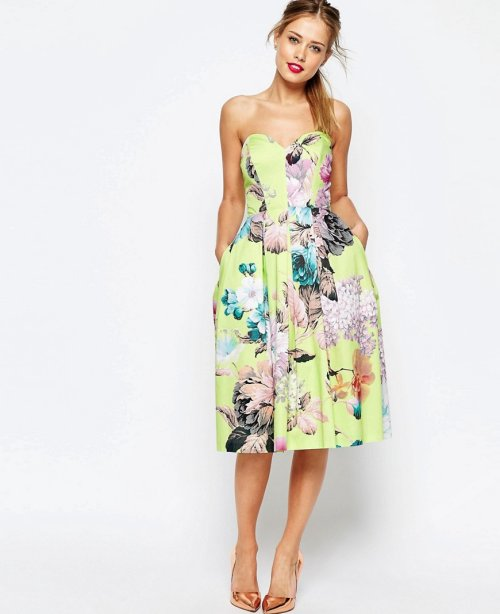 cute strapless lime floral midi cocktail summer dress Asos