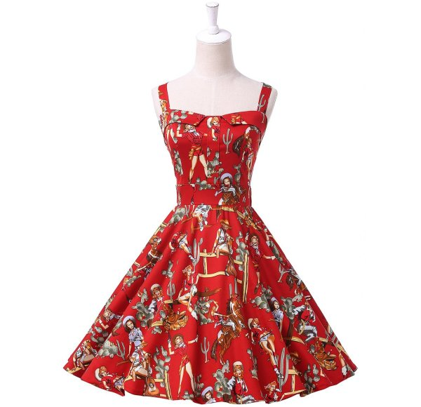 cute vintage red cowgirls print summer dress Grace Karin