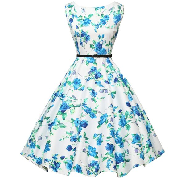 cute vintage white-blue floral summer dress by Grace Karin