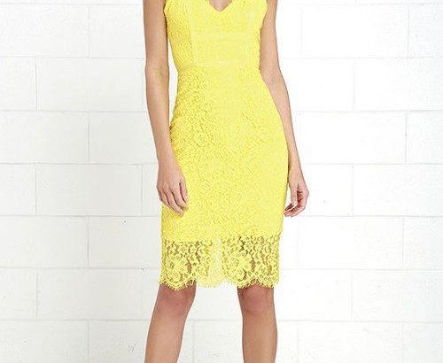 cute yellow lace midi cocktail summer dress lulus