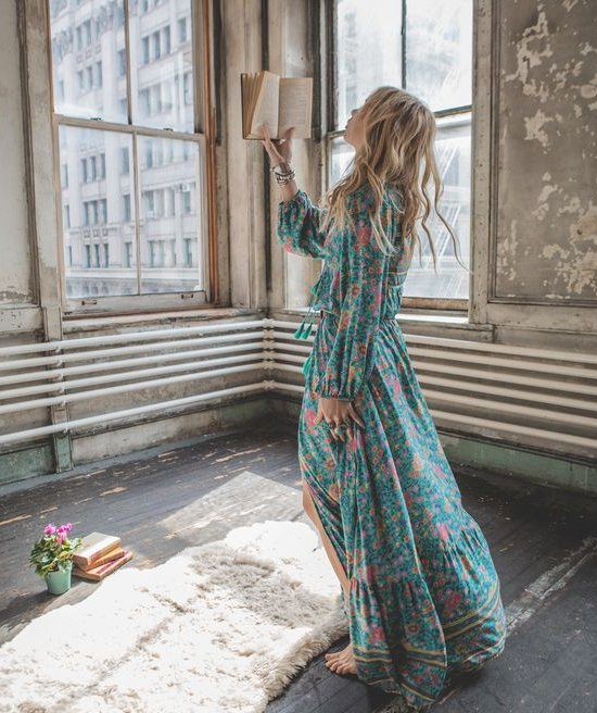 floral green long sleeve boho long summer dress spelldesigns