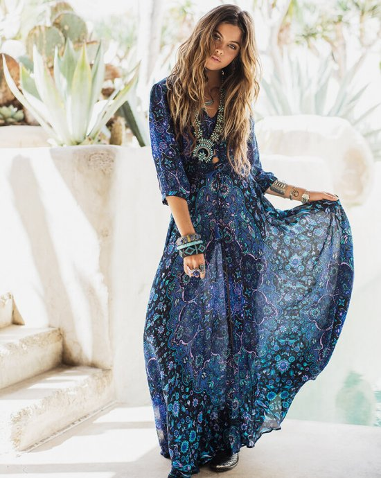 flowy blue print boho long summer dresses spells