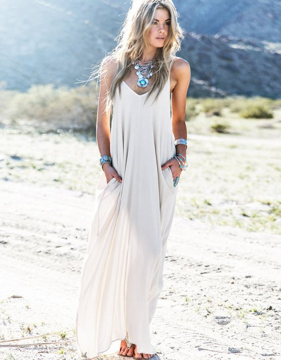 long nude flowy boho long summer dresses