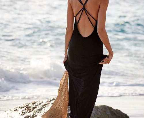 long summer beach dress cover up open back victoria secret