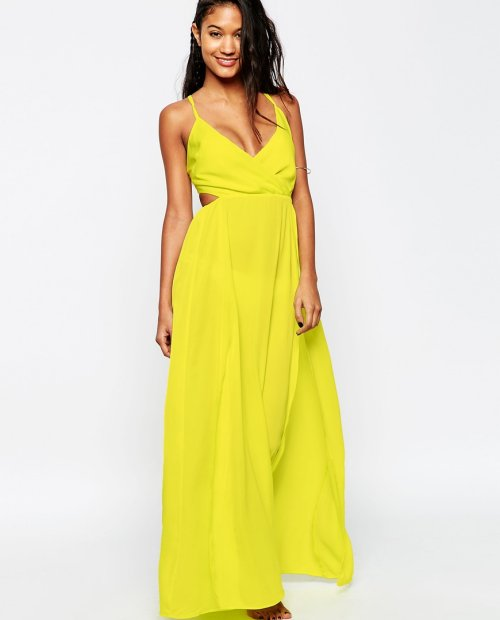 long yellow summer beach cover up dress cut outs wrap Asos