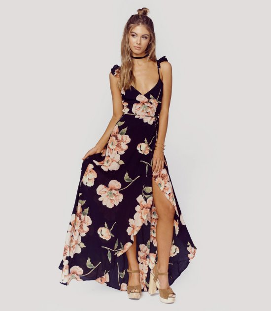 navy blue roses boho long summer dress planetblue