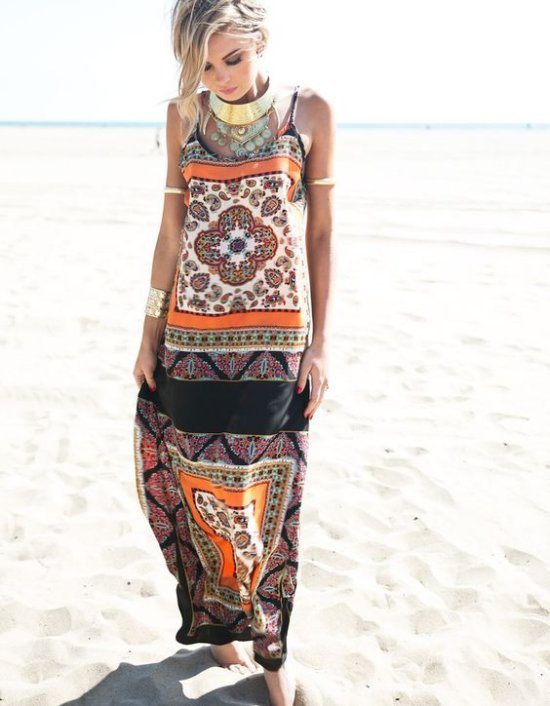 orange Paisley print boho long summer dresses HauteNRebellious