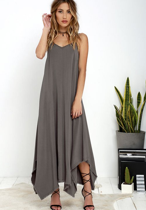 pretty loose dark grey long summer beach dress cover up Others Follow