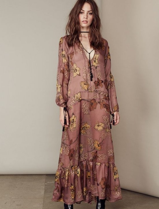 rusty floral long sleeve boho long summer dresses For Love & Lemons