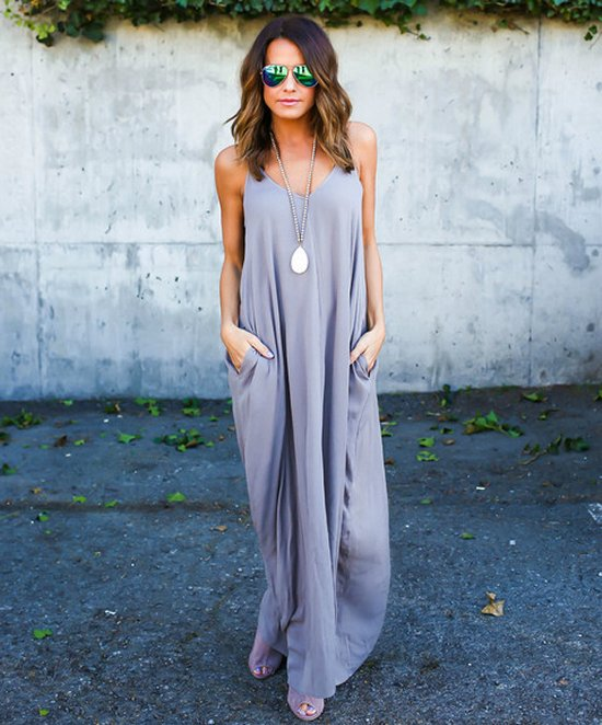 semi casual long taupe evening summer dress vicicollection