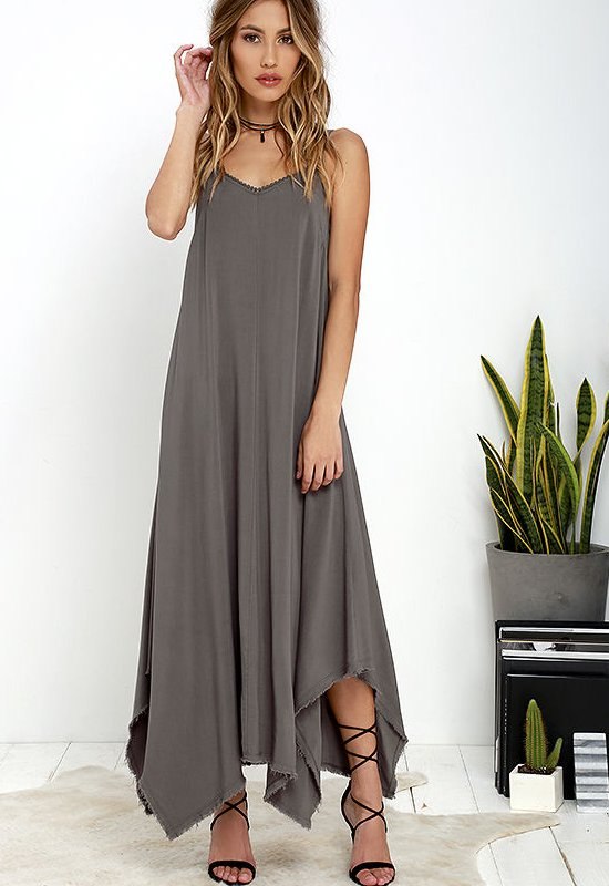 semi formal flowy dark grey long summer dress lulus