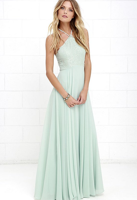 semi formal lacey halter top mint summer dress long lulus