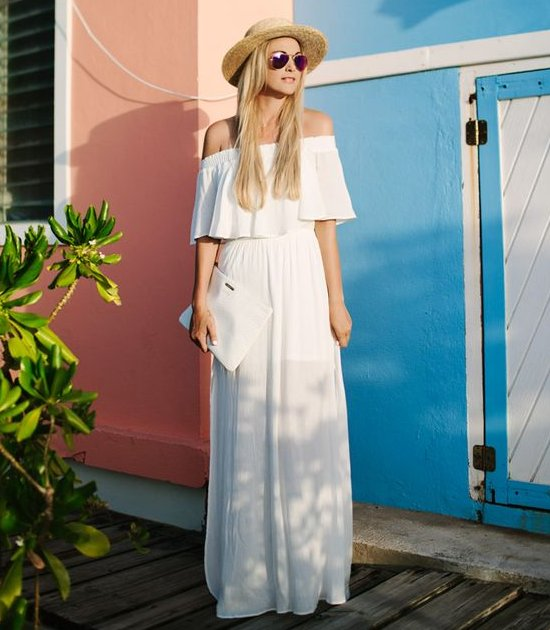 semi formal white off the shoulder summer dress long
