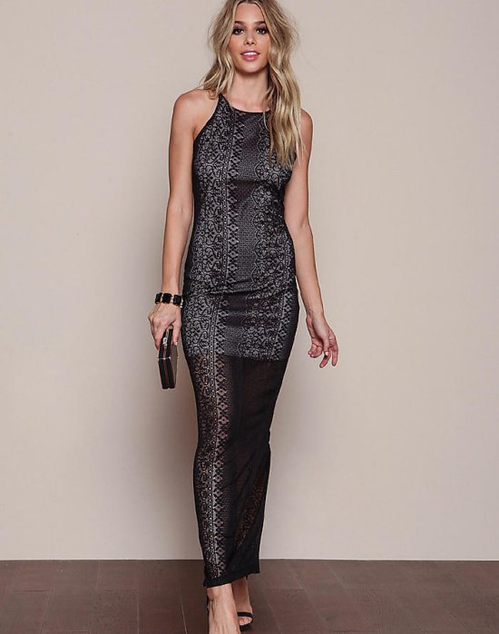 sexy black crochet long summer cocktail dress back slit loveculture