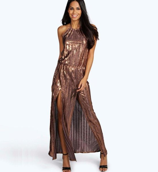 sexy bronze mettalic halter long summer dress slits shopstyle