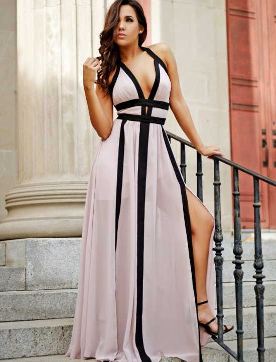 sexy halter colorblock blush black long summer dresses stellalamoda