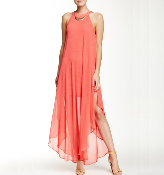 sexy halter coral long summer dress nordstromrack