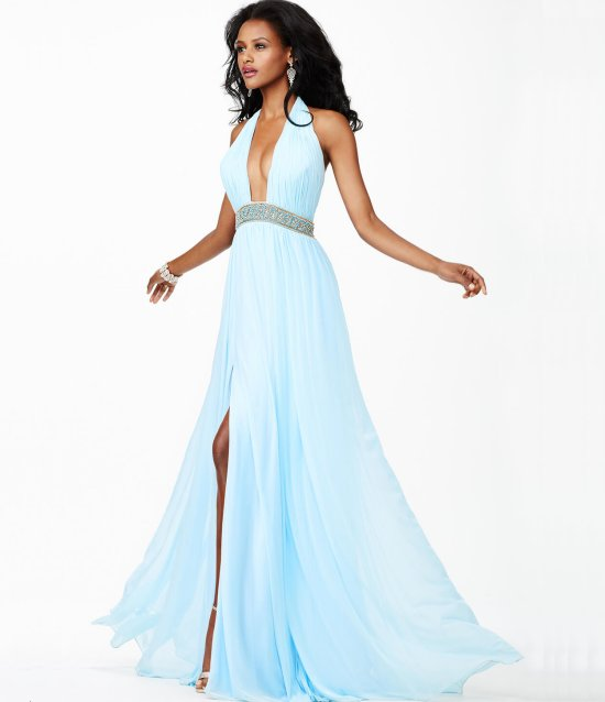 sexy long light blue cocktail summer dress jvn27594