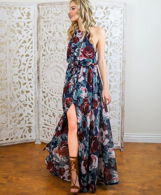 sexy luxurious blue floral print halter summer maxi vicicollection