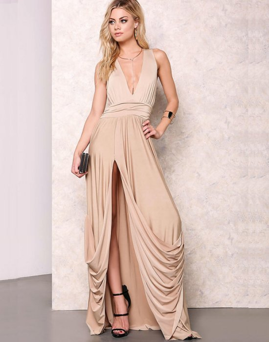 sexy nude draped long cocktail summer dress with slit and v-neck loveculture