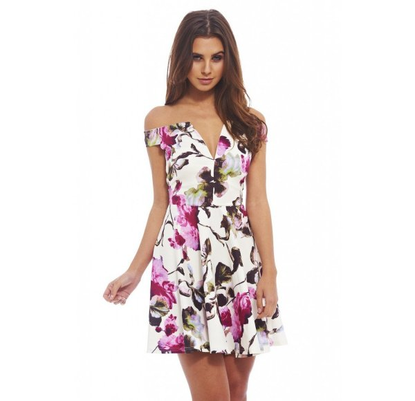 sexy off the shoulder cream floral summer dress AxParis