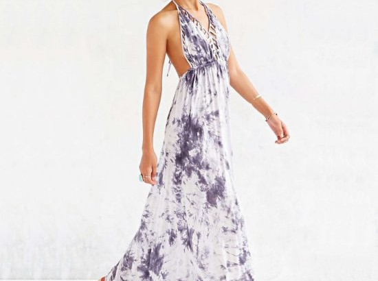 sexy purple tie dye v-neck halter long maxi summer dresses Urban Outfitters