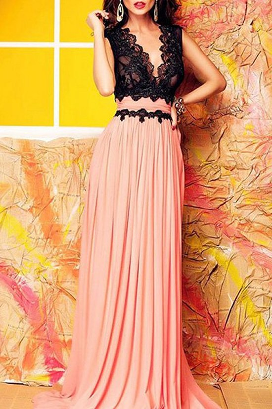 stunning peach black lace summer cocktail dress sammydress