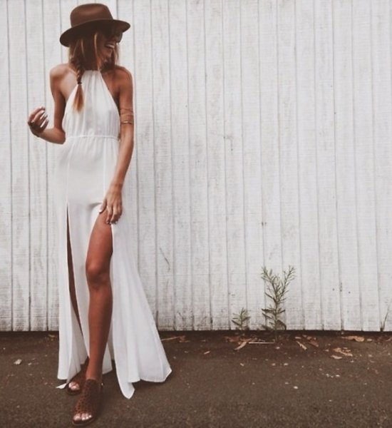 white sexy halter long maxi summer dress with front slits
