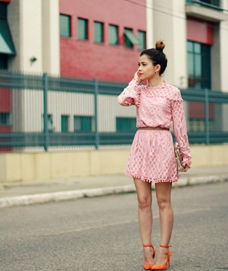 cute pink lace long sleeve summer dress with belt and orange shoes