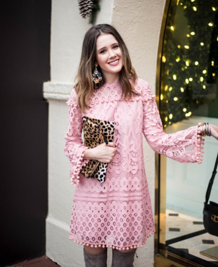 cute pink lace long sleeve summer dress with boots