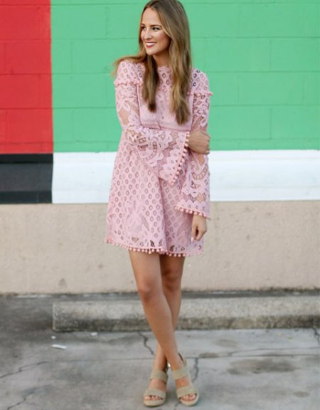 cute pink lace long sleeve summer dress with nude sandals