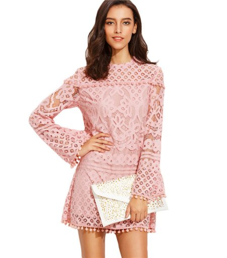 cute pink lace long sleeve summer dress with white laser cut clutch