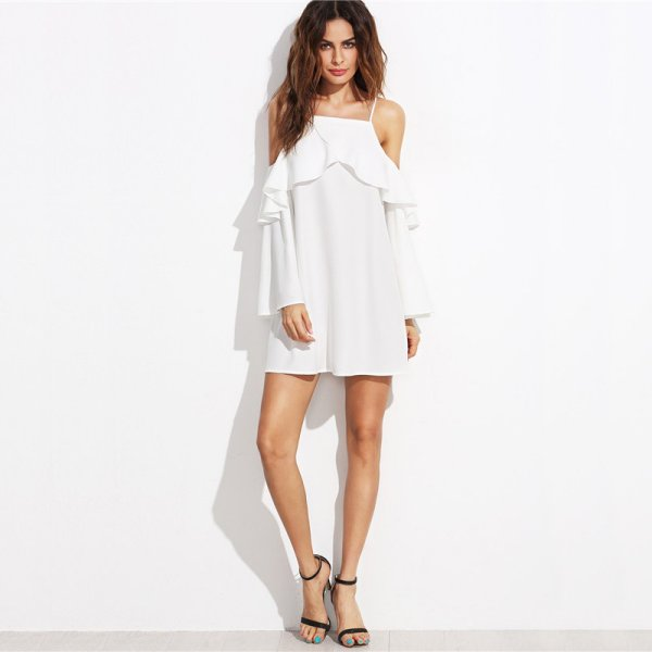 flowy white off the shoulder with ruffle details